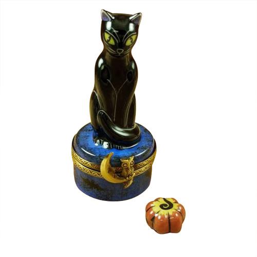 Rochard BLACK CAT ON NIGHT SKY SCENE W/ PUMPKIN Limoges Box RO210-I