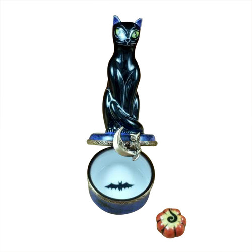 Rochard BLACK CAT ON NIGHT SKY SCENE W/ PUMPKIN Limoges Box RO210-I