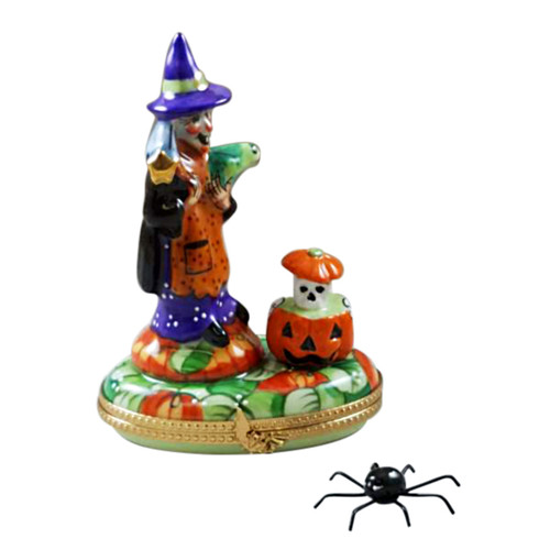 WITCH WITH PUMPKIN ON OVAL, REMOVABLE SPIDER Limoges Box