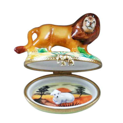 LION WITH REMOVABLE LAMB Limoges Box