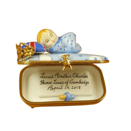PRINCE LOUIS OF CAMBRIDGE SLEEPING - INCLUDES PLAQUE AND PACIFIER Limoges Box RT274-K