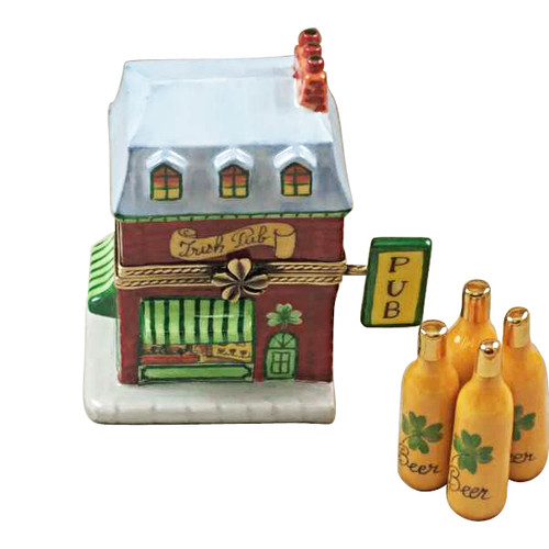 Rochard IRISH PUB WITH REMOVABLE BOTTLE OF BEER Limoges Box RT275-O