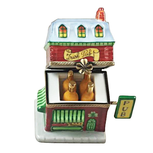 Rochard IRISH PUB WITH REMOVABLE BOTTLE OF BEER Limoges Box RT275