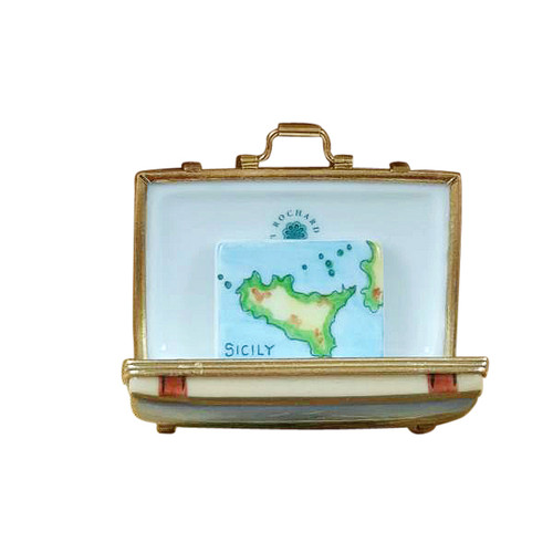 SICILY SUITCASE WITH REMOVABLE MAP Limoges Box (RT278-K)
