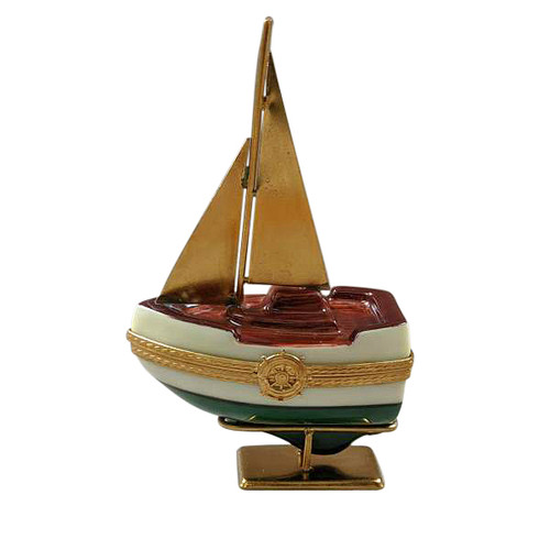 SAILBOAT W/ BRASS SAILS AND STAND WITH REMOVABLE ANCHOR Limoges Box RT280-M