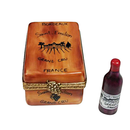BOURDEAUX TASTING CRATE WITH 1 BOTTLE, 1 GLASS AND CORK SCREW Limoges Box RW092-L