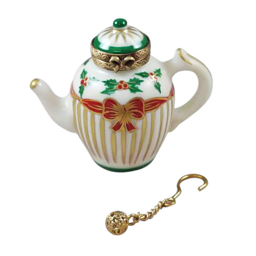 Rochard CHRISTMAS TEAPOT W/ METAL TEABALL Limoges Box (RX214-I)