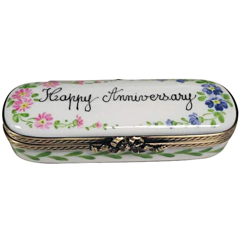 HAPPY ANNIVERSARY OVAL WITH FLOWERS Limoges Box TO983-F