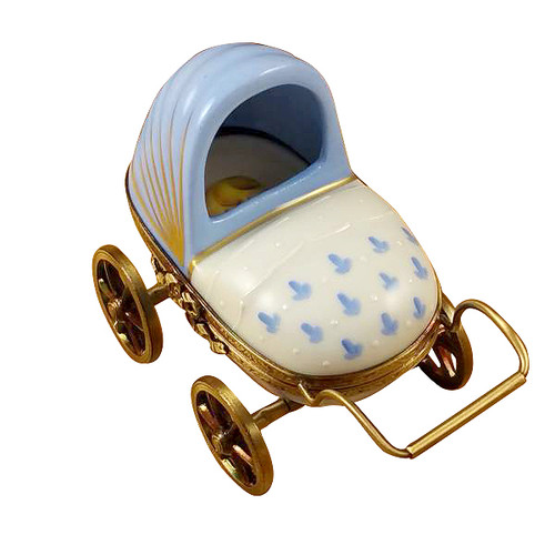 Rochard Blue Baby Carriage Limoges Box RB002-J