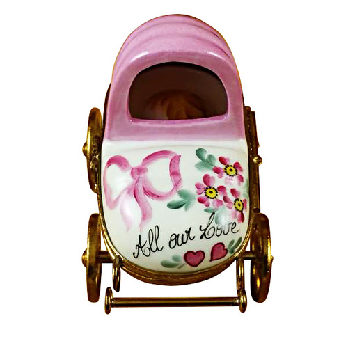 Limoges Imports Pink Baby Carriage Limoges Box
