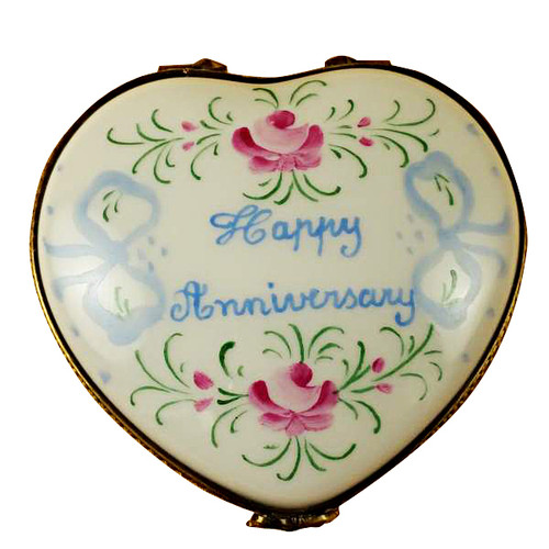 Limoges Imports Happy Anniversary Heart Limoges Box