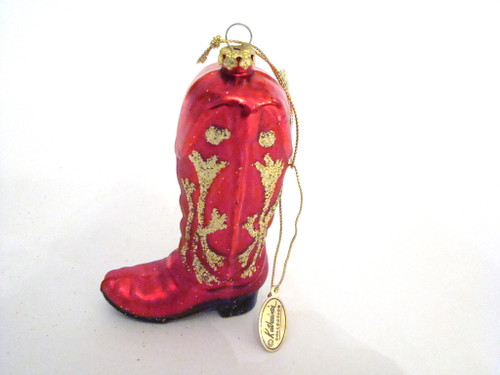 Katherine's Collection Rodeo Ralph Red Cowboy Boot Glass Ornament (16-21172RED)