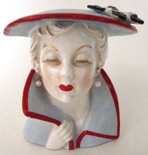 Vintage Lady Head Vase Rare Gold Ceramic Eyelash Gal in Hat w/ Flower (HV-XMASGOLDEYELASH)