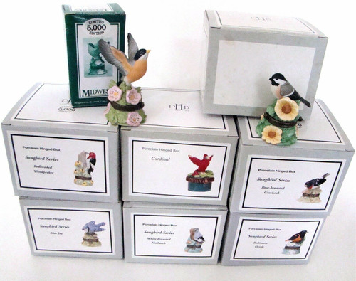 PHB Midwest of Cannon Falls Hinged Boxes - SONG BIRD SERIES & Cardinal Set of 8 (SongbirdPHB-Set8)