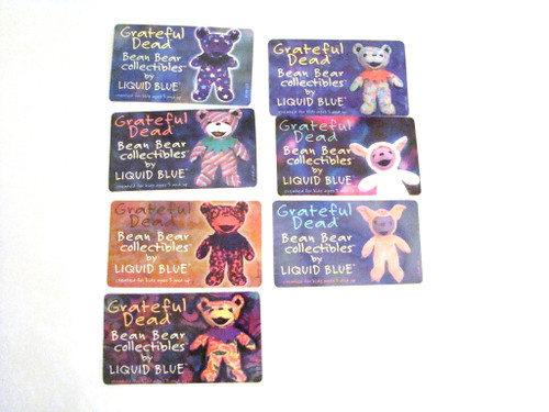 Grateful Dead Bean Bear Laminate Collector Card 7 cards 2,4,5,6,7,10,12