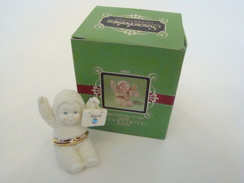 Dept. 56 Snowbabies MARCH Birthday Hinged Box (56-68382)