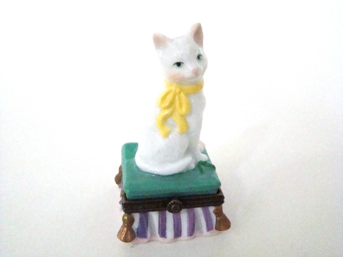 White Cat on Green Pillow Stool Midwest of Cannon Falls Porcelain Hinged Trinket Box PHB