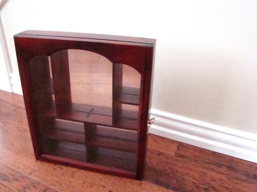 SMC Collectors Cabinet Glass Door Curio Rich Cherry Wood Finish (SMC5101)