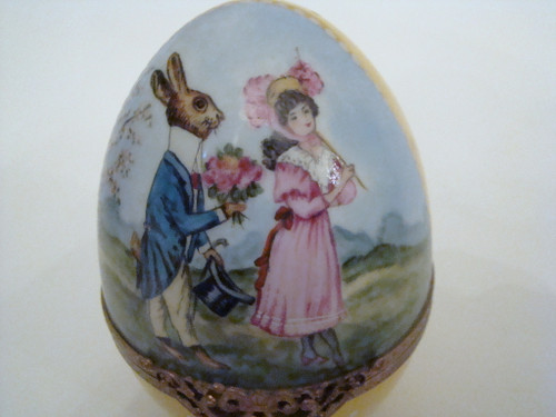 S&D Large Happy Easter Egg Suited Rabbit and Lady in Pink