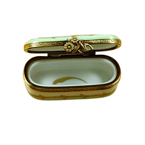 Green Oblong With Flowers Limoges Box RE249-D