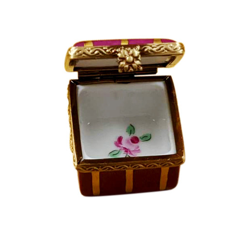 Small Burgundy Square with Gold Stripes and Flowers Limoges Box RE250-D