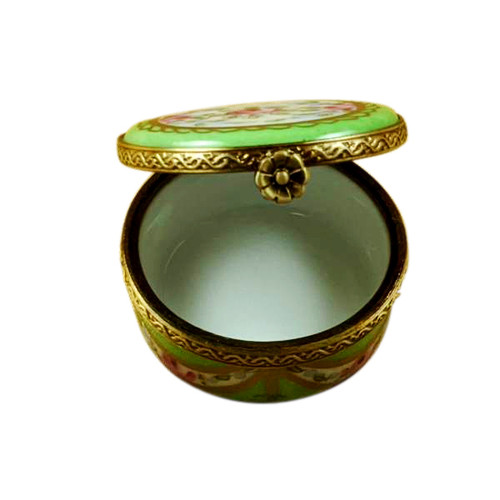Small Green Round with Flowers Rochard Limoges Box
