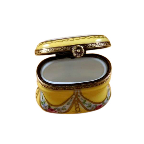 Tall Yellow Oval with Flowers Limoges Box RE254-D