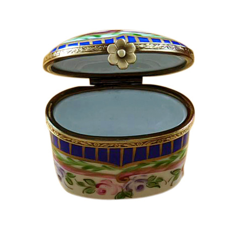 Tall Blue and Gold Stripes Oval with Flowers Rochard Limoges Box