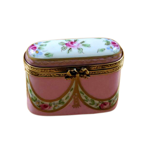 Tall Pink Oval with Flowers Rochard Limoges Box
