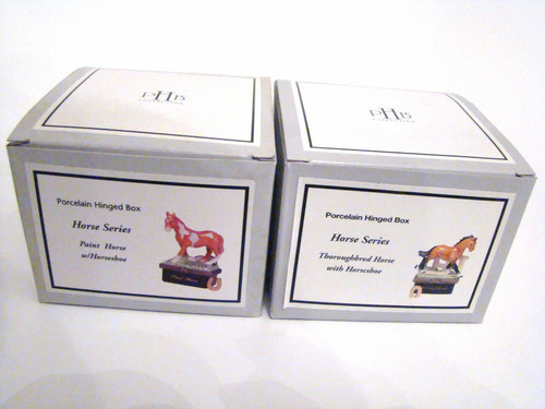 Midwest of Cannon Falls PHB Horse Series Set/6 Porcelain Hinged Boxes