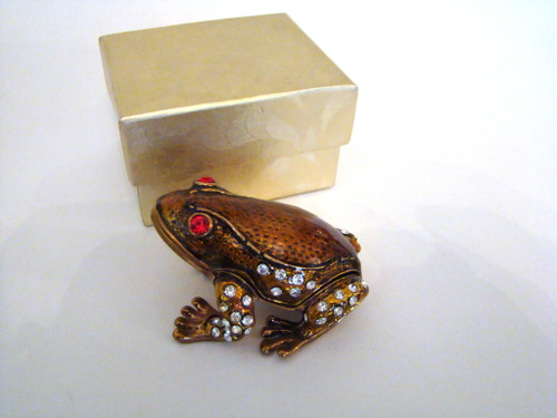 Jeweled Frog Hinged Box