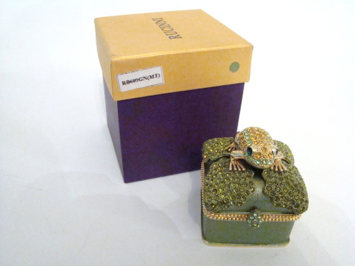 Rucinni Jeweled Frog on Jeweled Lily Pad Hinged Box (RB609GN)
