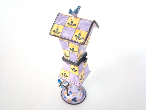 Kelvin Chen Lavender and Yellow Checker Hinged Birdhouse ET4505