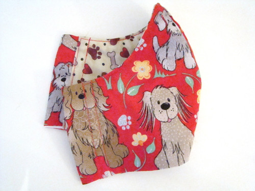 Red Dogs Bones Paw Prints Red Hearts (FM-RED-DOGS-BONES-HEARTS)