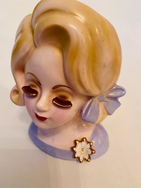 Vintage Lady Head Vase Rare Gold Ceramic Eyelash Gal in Blonde Flip (HV-GOLDEYELASHFLIP)