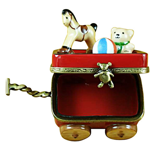 RED WAGON WITH BEAR Limoges Box TB586
