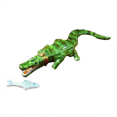 Green Crocodile with Removable Fish Limoges Box RA339