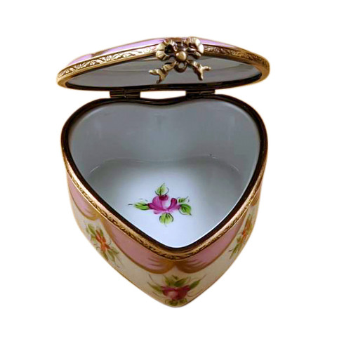 Pink Heart with Flowers Limoges Box - RH241