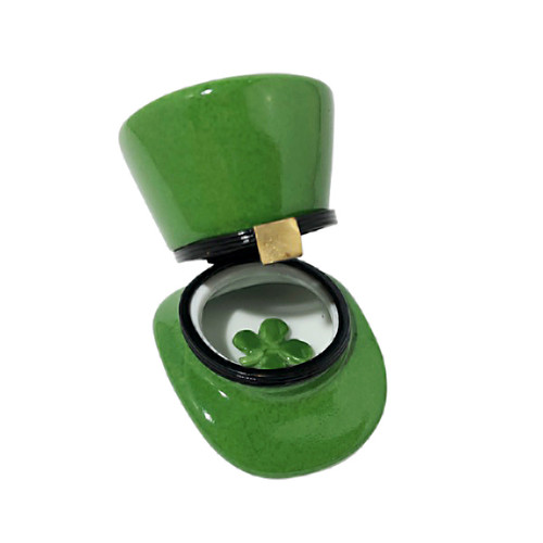 Leprechaun Hat with Four Leaf Clover Limoges Box RO226