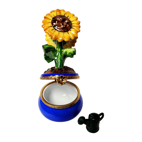 Sunflowers in Pot with Watering Can Limoges Box RK222