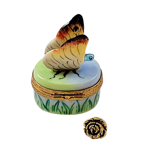 Butterfly with Removable Brass Flowers RA401