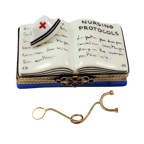 Nursing Book with Stethoscope Book Limoges Box RN058