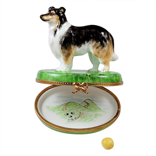 Sheltie with Removable Ball Rochard Limoges Box RD0089