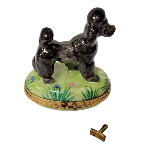 Black Poodle with Removable Grooming Brush Rochard Limoges Box RD0086