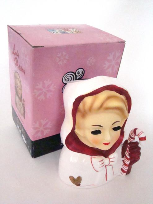 Christmas Lady Head Vase