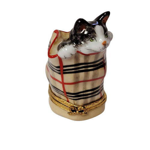 Cat in Burberry Bag with Ball of Yarn Limoges Box RC067