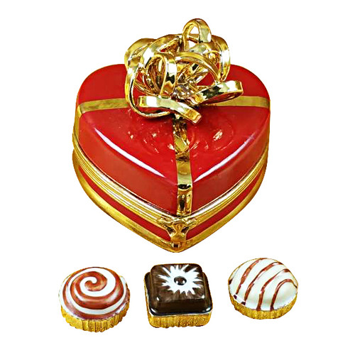 Red Heart Gold Bow W/Truffle Rochard Limoges Box