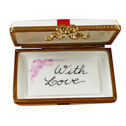 Gift Box With Red Bow - With Love Rochard Limoges Box RO182-F
