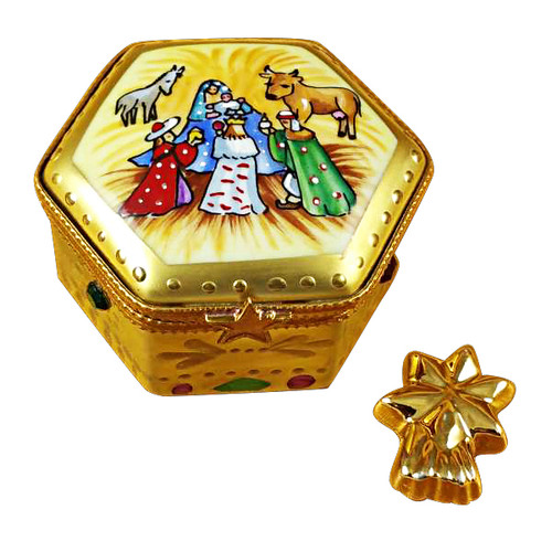 Octagon Nativity W/Star Rochard Limoges Box