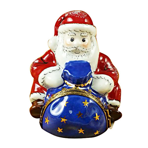 Santa Sitting With Gift Bag Rochard Limoges Box